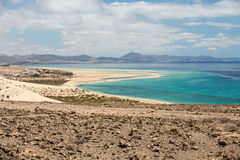 Beach Playa de Sotavento, Canary Island. Fuerteventura, Spain stock photo