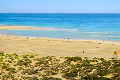 Beach Playa de Sotavento Fuerteventura, Spanien - 16 02 2017 Stockbilder