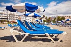 Beach Playa los Cristianos in Tenerife Stock Photo