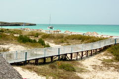 The beach at Playa Pilar. The walkway and beach at the resort of Playa Pilar in Cuba Stock Images