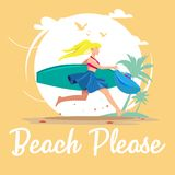Beach Please Vector Design royalty free illustration