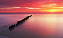 Beach in Poland - Baltic sea at sunrise stock image