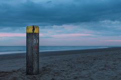 Beach pole at night on the North sea coast Royalty Free Stock Photography