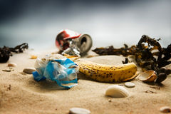Beach pollution Royalty Free Stock Photo