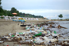 Beach Pollution After Flood Stock Photography