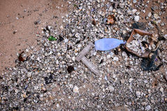 Beach pollution. Garbage on the beach Royalty Free Stock Images