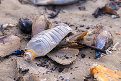 Beach pollution. Plastic bottles and other trash on sea beach Royalty Free Stock Photo