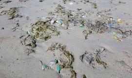 Beach pollution Royalty Free Stock Photos