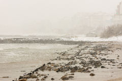 Beach in Pomorie, Bulgaria, December 31 royalty free stock image