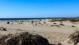 Beach Ponta da Areia in Portugal. Landscape overview of beach Ponta da Areia royalty free stock photos