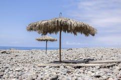 Beach Ponta DE Sol met natuurlijke zonparaplu's, het eiland van Madera royalty-vrije stock afbeelding