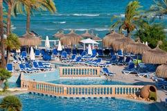 Beach pool resort. In Mallorca island Stock Photos