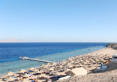 Beach at popular hotel in Sharm el Sheikh Royalty Free Stock Photography