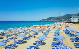 Beach of popular seaside resort city Alanya, Turkey Stock Photography