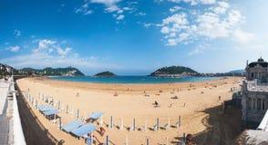 Beach in popular touristic city San Sebastian, Spain Stock Image