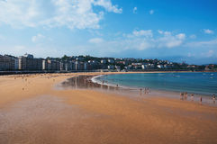 Beach in popular touristic city San Sebastian, Spain Stock Image