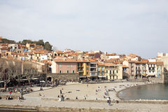 Beach and port collioure, south of france Stock Photography