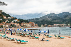 Beach in Port de Soller on a cloudy day on Mallorca, Balearic Islands, Spain Stock Photos