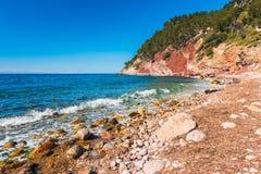 Beach in Port de Valldemossa Mallorca Spain. Beach in Port de Valldemossa, Mallorca, Balearic Islands, Spain Royalty Free Stock Images
