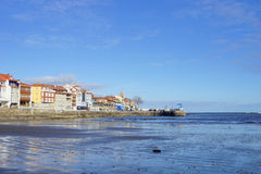 Beach and port a. Typica Asturian village with beach and port Stock Images