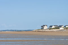 On the Beach of Portbail, Normandy, France at low tide Royalty Free Stock Images