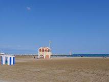 The Beach  Porte La Nouvelle France. Image of beach hut, lifeguard station and lighthouse  Porte La Nouvelle France Stock Image