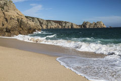 Beach at Porthcurno in Cornwall, England Stock Image