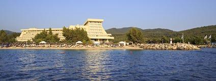 Beach and Porto Carras Meliton. Royalty Free Stock Images