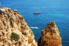 Beach, Portugal - Algarve. Algarve coast Lagos and boats - Portugal Stock Photos