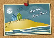 Beach Postcard On Corkboard Royalty Free Stock Images