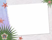 Beach postcard with sea shell and star fish Stock Photography