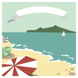 Beach. Postcard with summer beach and stripe for text Royalty Free Stock Photo
