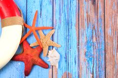 Beach poster with starfishes Stock Photography