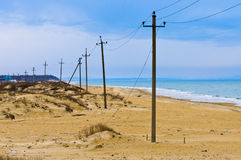 Beach power line Stock Photo
