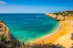 Beach praia da Cova Redonda, Algarve, Portugal, royalty free stock photos