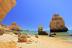 A beach praia da marinha in Algarve Royalty Free Stock Photo