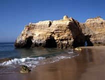 Beach, Praia da Rocha, Algarve, Portugal. Royalty Free Stock Photography