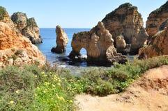 普腊亚da Piedade,阿尔加威,葡萄牙,欧洲 免版税图库摄影