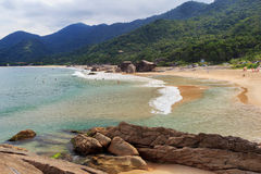 Beach Praia do Cepilho, mountains, Trindade, Paraty, Brazil Stock Images