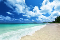 Beach at Praslin island Stock Images