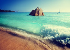 Beach on Praslin island in Seychelles Stock Photo