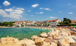 Beach in Primosten, Croatia Royalty Free Stock Image