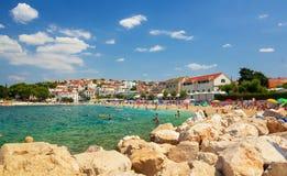 Beach in Primosten, Croatia. Adriatic Sea royalty free stock image