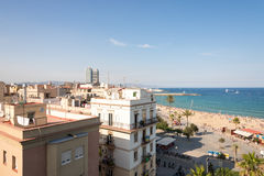 The beach and the promenade of Barceloneta Stock Photography