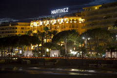 The beach promenade of Cannes at night Stock Image