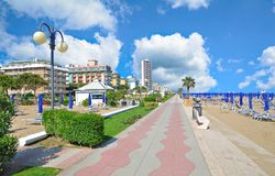 Lido di Jesolo,adriatic Sea,Veneto,Italy. Beach and Promenade of Lido di Jesolo at adriatic Sea,Veneto,mediterranean Sea,Italy Royalty Free Stock Image