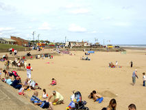 Beach and promenade, Mablethorpe. The beach and promenade in August at Mablethorpe, Lincolnshire, England, UK Stock Photography