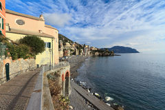 Beach and promenade in Sori. Liguria, Italy Stock Photos