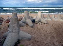 Beach protection. Baltic sea, concrete blocks protecting beach against storms Royalty Free Stock Photo