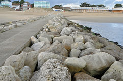 Beach protection barrier breakwater Royalty Free Stock Images